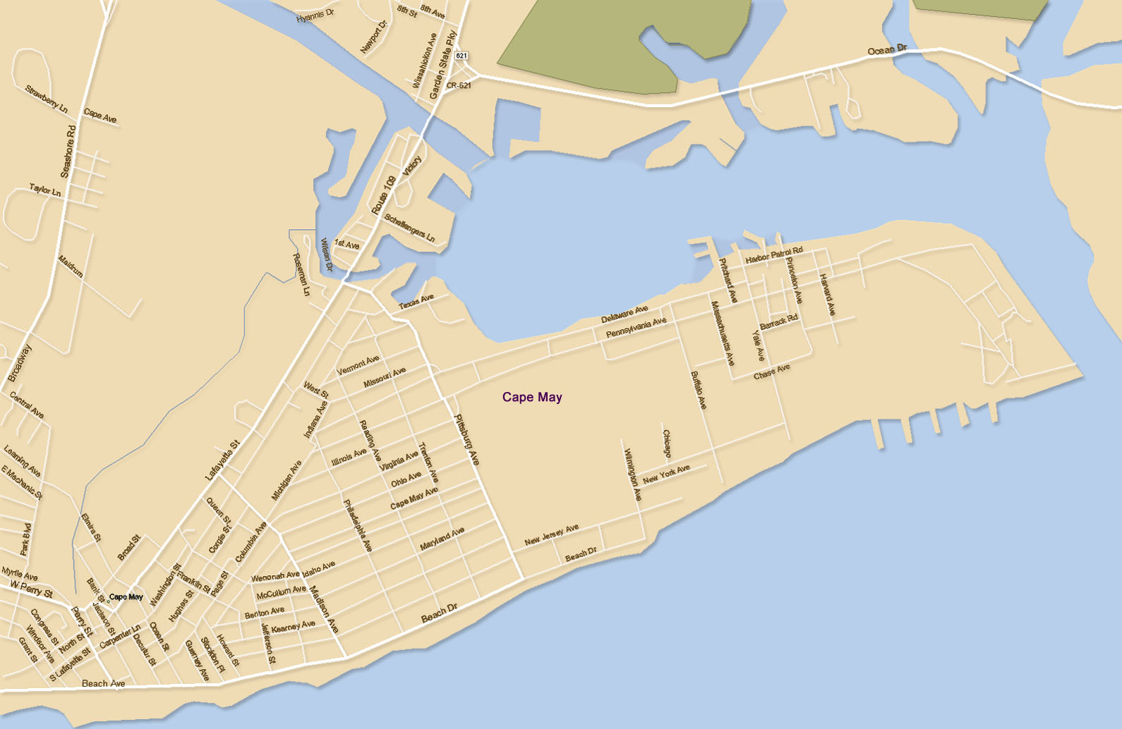 Cape May, NJ Map Cape May Nj Map on