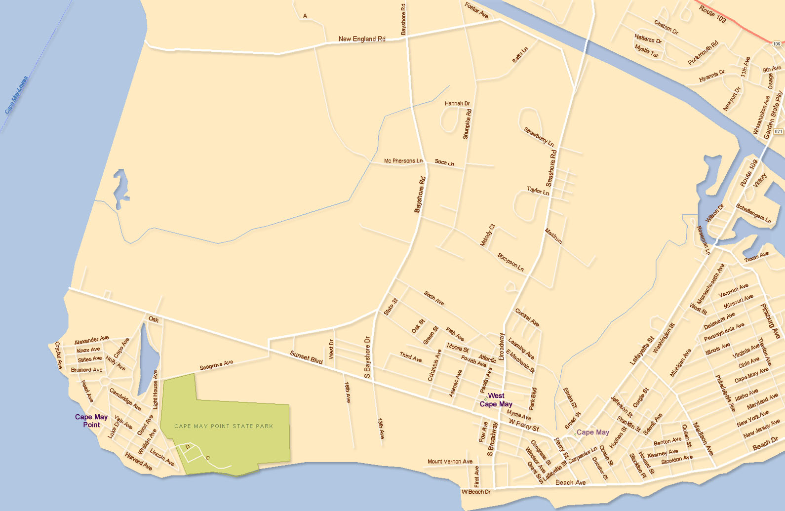 West Cape May, NJ and Cape May Point, NJ Maps Cape May Nj Map on